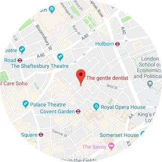 The gentle dentist shown on the map in 61 shelton street covent garden london wc2h 9he